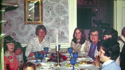 Family members gather at the Beinlich farm for Thanksgiving in 1975. Norma Beinlich, Nan, is on the right, wearing glasses. Rebecca Sodergren is the little girl on the lower left.