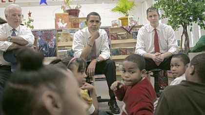 President-elect Barack Obama, center, flanked by Education Secretary-designate Arne Duncan, right, and Vice President-elect Joe Biden, visit students at the Dodge Renaissance Academy in Chicago last week, Students in the Pittsburgh area have written to the president-elect in anticipation of his inauguration.