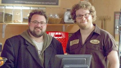 Kevin Smith and Seth Rogen at the Bean-N-Gone coffee shop in Monroeville.