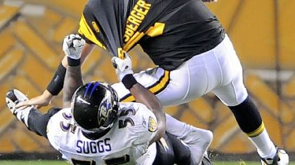 Baltimore's Terrell Suggs sacks Ben Roethlisberger Sept. 29 at Heinz Field.