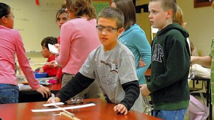 Jaz Wolfe, 10, prepares to fly his glider in the Technology in Motion class taught by Frank Kruth at South Fayette Middle School.