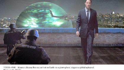 Klaatu&#039;s (Keanu Reeves) mission on Earth is tied to the spheres that have also arrived on the planet in &quot;The Day the Earth Stood Still.&quot;