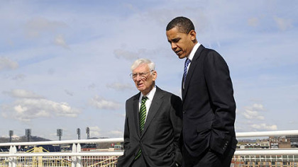 Senator Barack Obama walks with Steelers owner Dan Rooney to a rooftop deck on the David L. Lawrence Convention Center, Downtown, to get a view of Heinz Field in April of this year.