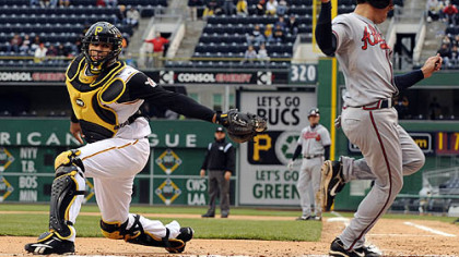 Ronny Paulino misses Atlanta's Kelly Johnson with a swipe-tag in this 2008 game at PNC Park.