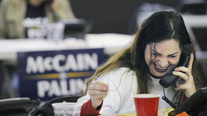 Lucy Malkani, of Ben Avon, makes calls on behalf of the McCain/Palin campaign at McCain headquarters in Greentree, yesterday.