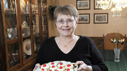 Holiday cookie contest winner Nancy Conley at home in West Mifflin with her Scottish Empire Biscuits.