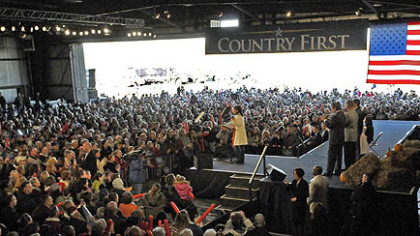 "Sarah Palin works up the crowd at a ""Road to Victory"" rally in Latrobe."