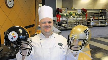 Chef Corey Hayes cooks for the Steelers and the University of Pittsburgh Panthers at the Steelers training facility on the South Side.