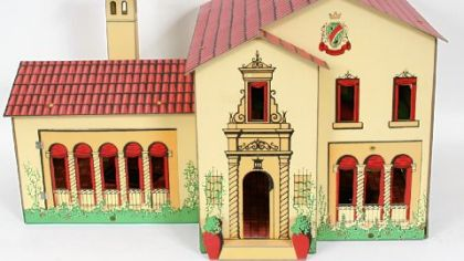 This seven-room Spanish mansion, made by Tootsietoy around 1930, is in near mint condition and comes with original box and instructions. It is estimated to sell for between $2,000 and $3,000.
