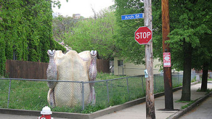 "Milwaukee artist Nicolas Lampert drove his ""Attention Chicken!"" sculpture to Pittsburgh for the ""Street With a View"" shoot. It appears at the corner of Arch Street and Sampsonia Way."