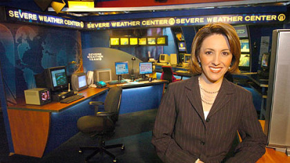 WPXI meteorologist Krista Villarreal in the weather center at Channel 11.