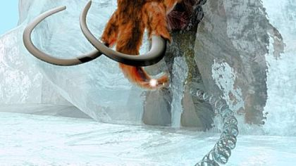 This artist's rendering, provided by the Mammoth Genome Project, Penn State University, portrays the unraveling of the genetic code of an extinct animal, the Ice Age's woolly mammoth -- here encased in ice.