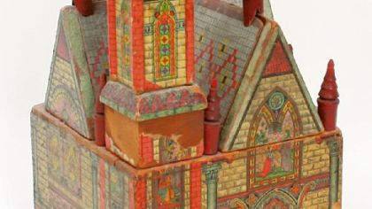 This color church, made by Bliss in 1895, is lithographed paper over wood. It is estimated to sell for $1,000 to $1,500.